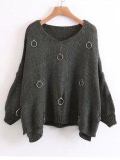 Metallic Rings Oversized Side Slit Sweater - Blackish Green