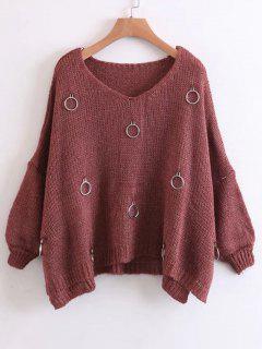 Metallic Rings Oversized Side Slit Sweater - Brick-red