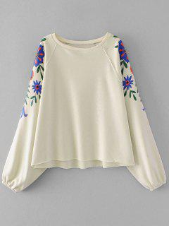 Batwing Sleeve Flower Graphic Sweatshirt - Off-white M