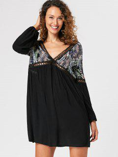Lantern Sleeve Open Back Mini Dress - Black Xl