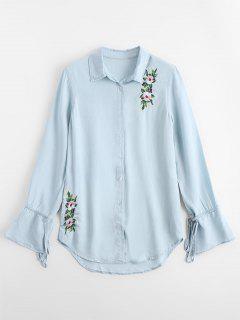 Bow Tied Side Slit Embroidered Shirt - Light Blue L