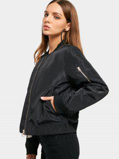 Ruched Zip Up Padded Bomber Jacket - Black S