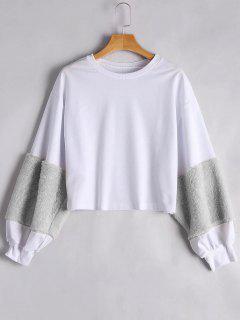 Puff Sleeve Faux Fur Embellished Sweatshirt - Gray S