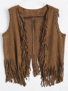 Asymmetric Fringed Draped Waistcoat - Deep Brown