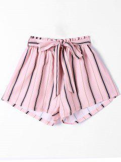 Striped Wide Leg Shorts - Pink L