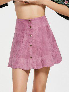 Snap Button High Waist A Line Skirt - Pinkish Purple M