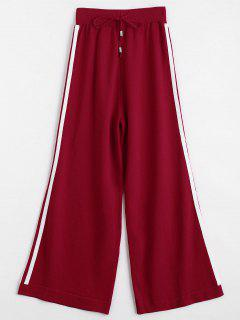 Jersey Knit Striped Wide Leg Pants - Red