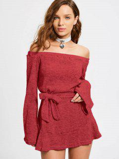 Off The Shoulder Belted Mini Dress - Red M