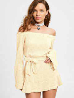 Off The Shoulder Belted Mini Dress - Palomino M