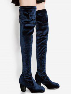 Pointed Toe Chunky Heel Over The Knee Boots - Blue 38