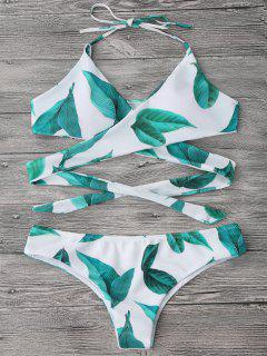 Leaf Print Wrap Bikini Top And Bottoms - White L
