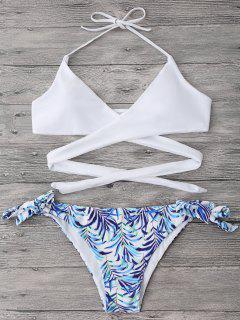 Halter Wrap Bikini Top And Leaf Print Bottoms - White M