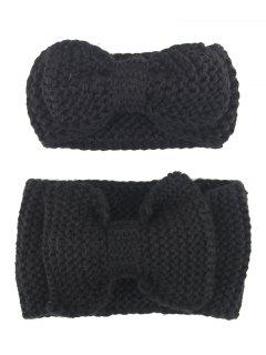 Bows Crochet Mom And Kid Elastic Hair Band Set - Black