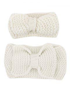 Bows Crochet Mom And Kid Elastic Hair Band Set - Off-white