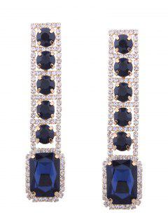 Rhinestone Faux Gem Sparkly Geometric Earrings - Blue