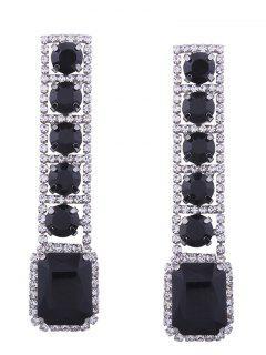 Rhinestone Faux Gem Sparkly Geometric Earrings - Black