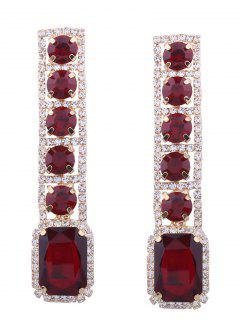 Rhinestone Faux Gem Sparkly Geometric Earrings - Red