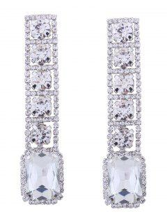 Rhinestone Faux Gem Sparkly Geometric Earrings - White