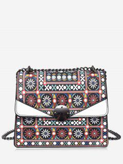 Chain Tribal Print PU Leather Crossbody Bag - White