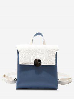 Color Blocking Faux Leather Mini Backpack - White