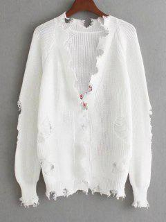 Crane Embroidered Open Front Ripped Cardigan - White