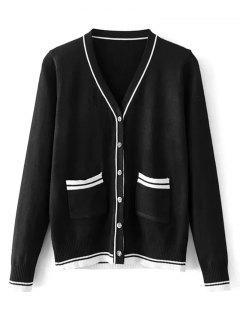 Stripes Panel Button Up V Neck Cardigan - Black