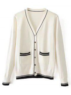 Stripes Panel Button Up V Neck Cardigan - White