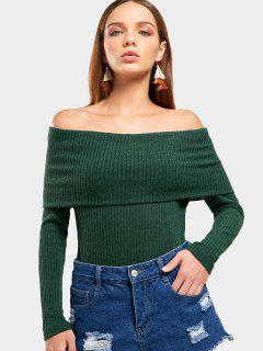 Off The Shoulder Plain Knitted Top - Blackish Green M