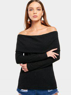 Off The Shoulder Plain Knitted Top - Black S