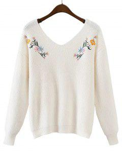 Loose V Neck Floral Embroidered Sweater - White