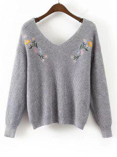 Loose V Neck Floral Embroidered Sweater - Gray