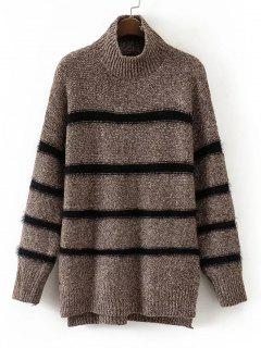 Fuzzy Mock Neck High Low Sweater - Coffee