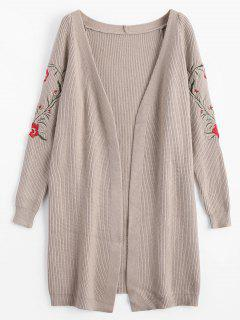 Flower Embroidered Open Front Cardigan - Light Khaki