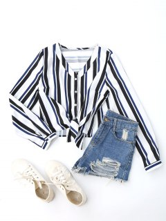 Stripes Button Up Blouse - Blue M