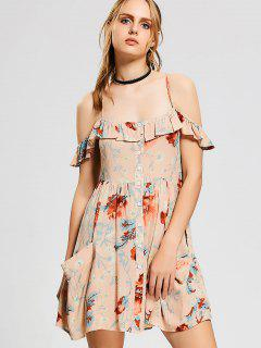 Floral Ruffles Cold Shoulder Mini Dress - Pink M