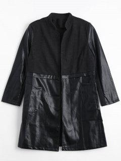 Opne Front PU Leather Panel Coat - Black 2xl