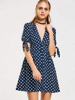 Button Up Bow Tied Polka Dot A Line Dress - Purplish Blue S