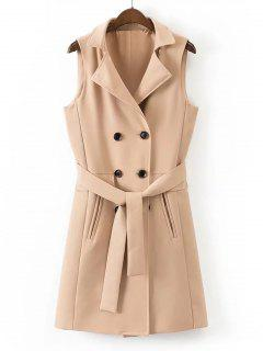 Belted Back Slit Double-breasted Waistcoat - Khaki L