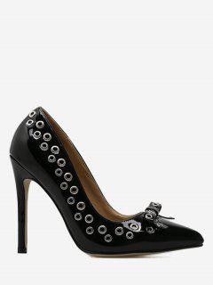 Grommet Bowknot Stiletto Heel Pumps - Black 40