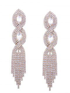 Rhinestoned Faux Crystal Chandelier Earrings - Golden