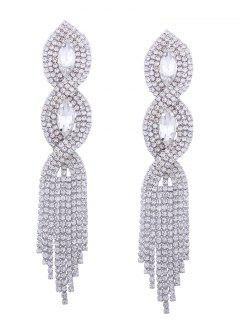 Rhinestoned Faux Crystal Chandelier Earrings - Silver