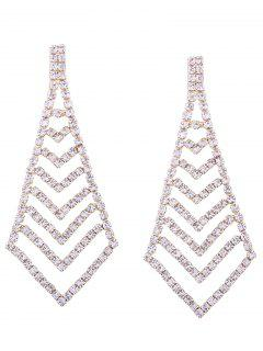 Rhinestone Geometric Party Sparkly Earrings - Golden