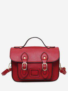 Faux Leather Double Buckle Straps Crossbody Bag - Red
