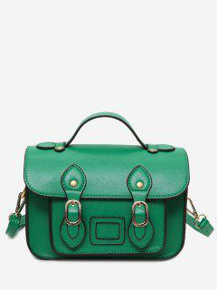 Faux Leather Double Buckle Straps Crossbody Bag - Green