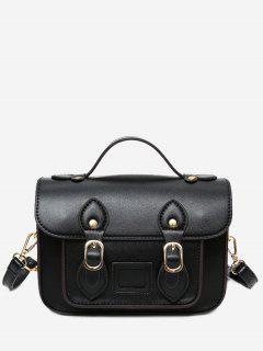 Faux Leather Double Buckle Straps Crossbody Bag - Black
