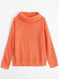 Cowl Neck Pullover Tunic Sweater - Orange