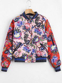 Floral Print Puffer Jacket - Floral Xl