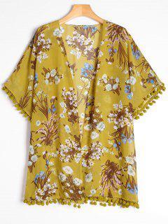 Blusa De Fieltro Con Flecos Laterales Con Estampado Floral - Floral