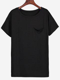 Round Collar Side Slit Pocket Tee - Black S