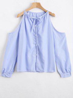 Cold Shoulder Striped Bow Tie Blouse - Light Blue S